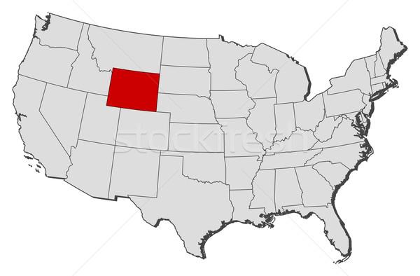 地図 米国 ワイオミング州 政治的 いくつかの 抽象的な ストックフォト © Schwabenblitz