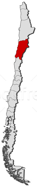 Stock fotó: Térkép · Chile · politikai · néhány · régiók · földgömb