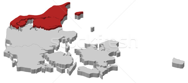 Kaart noorden Denemarken politiek verscheidene regio Stockfoto © Schwabenblitz