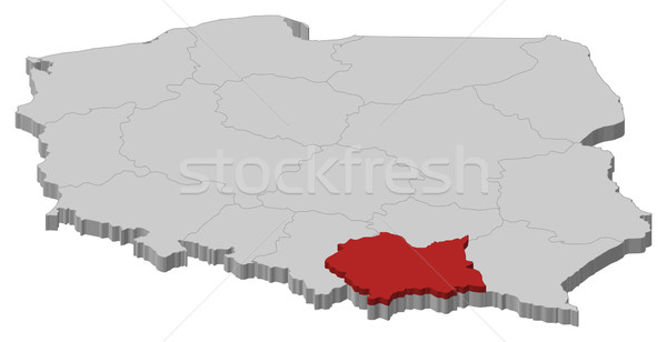 Map of Poland, Lesser Poland highlighted Stock photo © Schwabenblitz