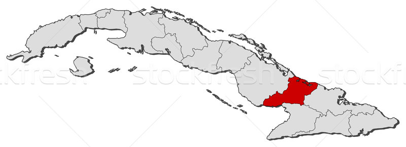 Map of Cuba, Las Tunas highlighted Stock photo © Schwabenblitz