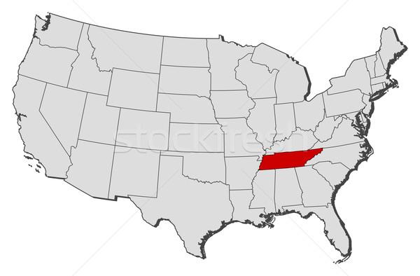 Foto stock: Mapa · Estados · Unidos · Tennessee · político · vários · abstrato