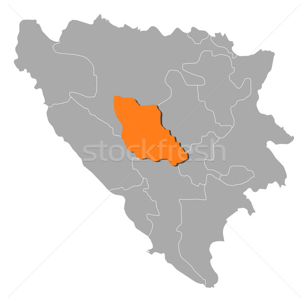 Map of Bosnia and Herzegovina, Central Bosnia highlighted Stock photo © Schwabenblitz