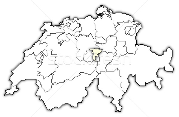 Map of Swizerland, Nidwalden highlighted Stock photo © Schwabenblitz