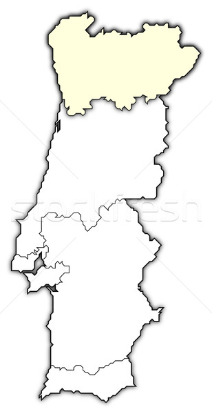 Map of Portugal, Norte Region highlighted Stock photo © Schwabenblitz
