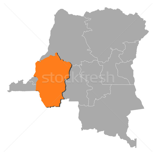 Map of Democratic Republic of the Congo, Bandundu highlighted Stock photo © Schwabenblitz