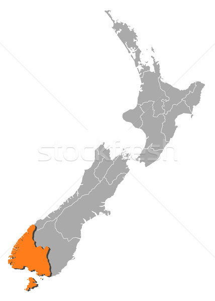 Map of New Zealand, Southland highlighted Stock photo © Schwabenblitz