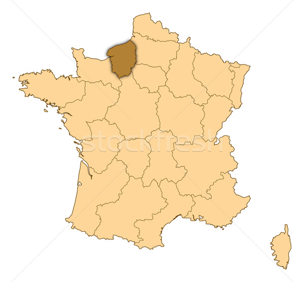 Map of France, Upper Normandy highlighted Stock photo © Schwabenblitz
