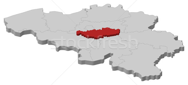 Map of Belgium, Walloon Brabant highlighted Stock photo © Schwabenblitz