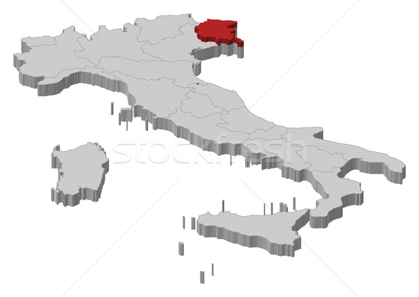 Friuli Italy Map.Map Of Italy Friuli Venezia Giulia Highlighted Vector Illustration