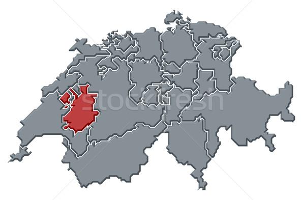 Map of Swizerland, Fribourg highlighted Stock photo © Schwabenblitz