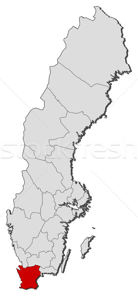 Map of Sweden, Skane County highlighted Stock photo © Schwabenblitz