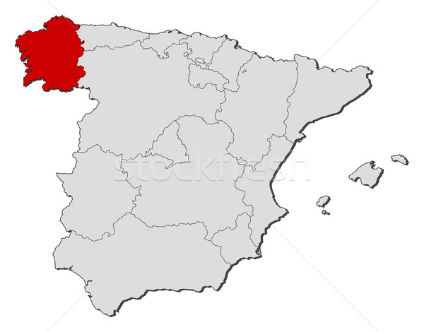 Map of Spain, Galicia highlighted Stock photo © Schwabenblitz