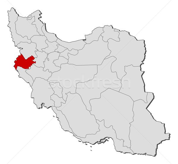 Map of Iran, Kermanshah highlighted Stock photo © Schwabenblitz