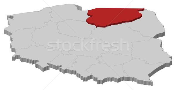 Map of Poland, Warmian-Masurian highlighted Stock photo © Schwabenblitz