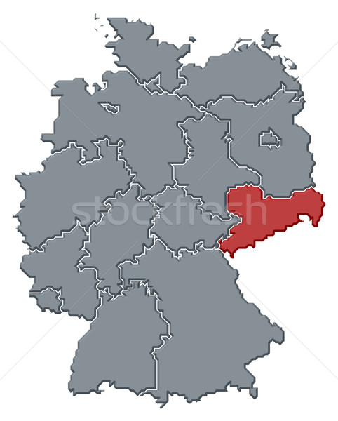 Map of Germany, Saxony highlighted Stock photo © Schwabenblitz
