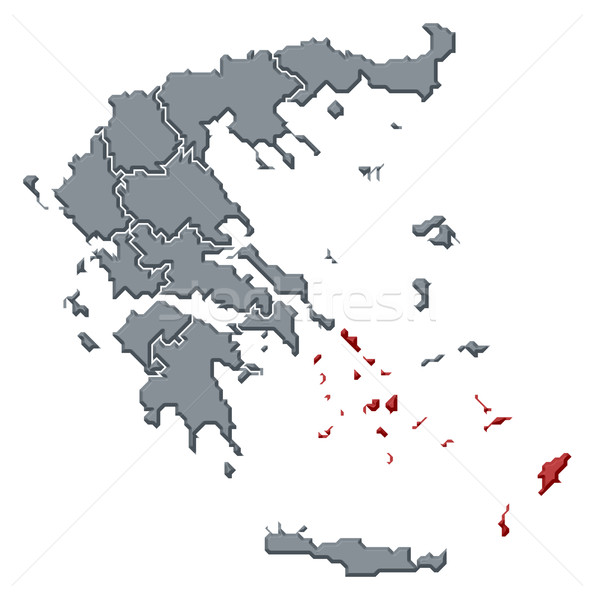 Map of Greece, South Aegean highlighted Stock photo © Schwabenblitz