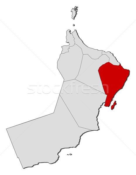 Kaart Oman as politiek verscheidene regio Stockfoto © Schwabenblitz
