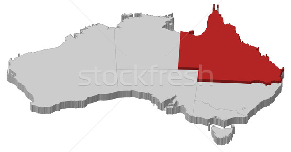 Map of Australia, Queensland highlighted Stock photo © Schwabenblitz