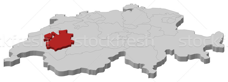 Map of Swizerland, Fribourg highlighted Stock photo © Schwabenblitz