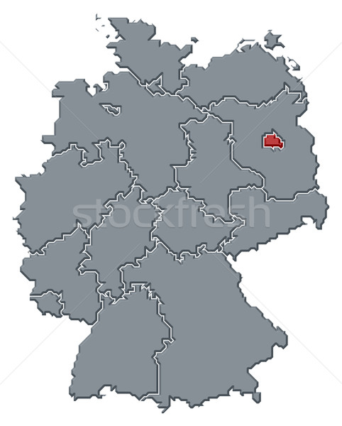 Map of Germany, Berlin highlighted Stock photo © Schwabenblitz