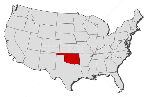 Map Of The United States Oklahoma Highlighted Vector Illustration - Oklahoma map us