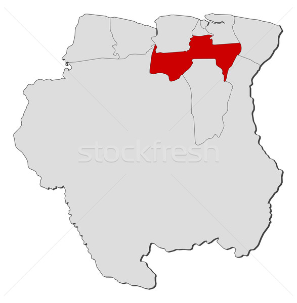 Map of Suriname, Para highlighted Stock photo © Schwabenblitz