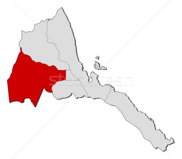Foto stock: Mapa · Eritrea · político · resumen · fondo