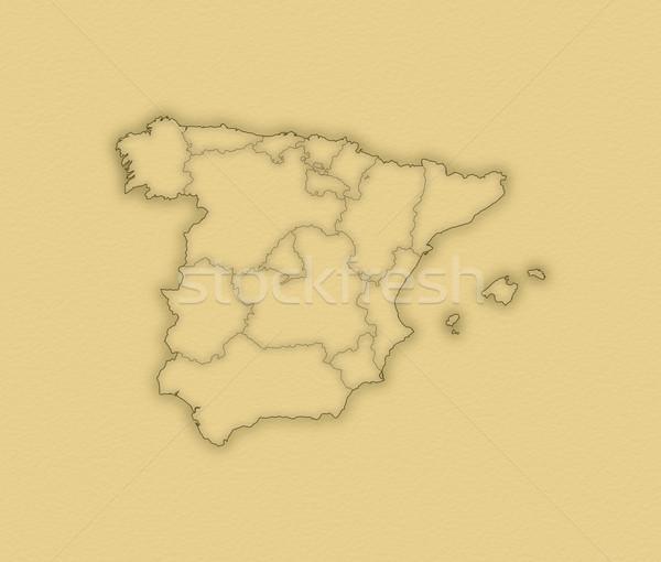 Stockfoto: Kaart · Spanje · politiek · verscheidene · regio · abstract