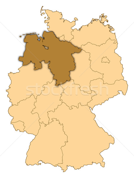 Map of Germany, Lower Saxony highlighted Stock photo © Schwabenblitz