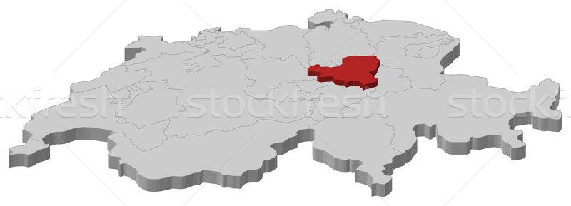 Map of Swizerland, Schwyz highlighted Stock photo © Schwabenblitz