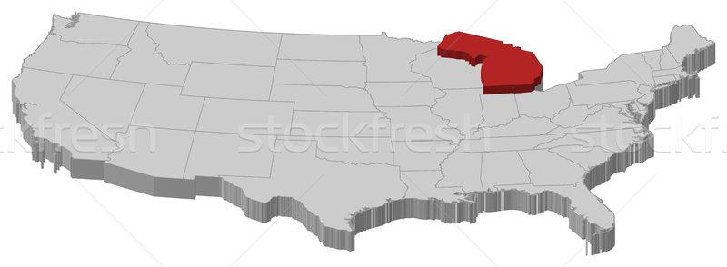 Mapa Estados Unidos Michigan político resumen Foto stock © Schwabenblitz