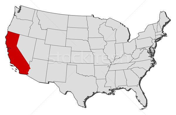 Map of the United States California highlighted vector