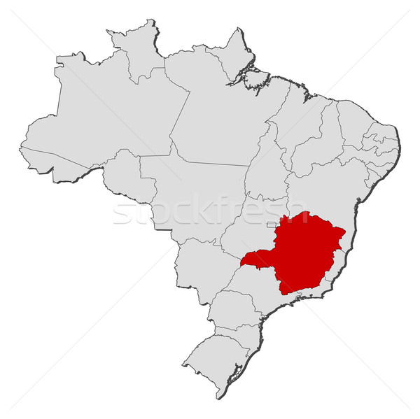 Map of Brazil, Minas Gerais highlighted Stock photo © Schwabenblitz