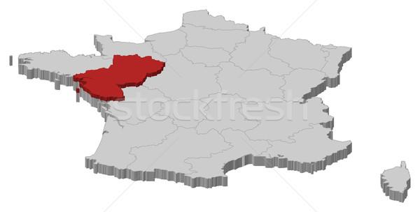 Map of France, Pays de la Loire highlighted Stock photo © Schwabenblitz