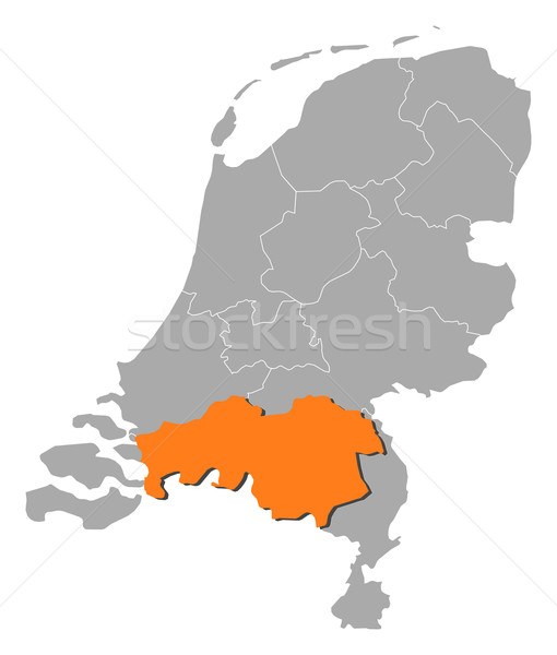 Foto stock: Mapa · Holanda · norte · político · vários · abstrato