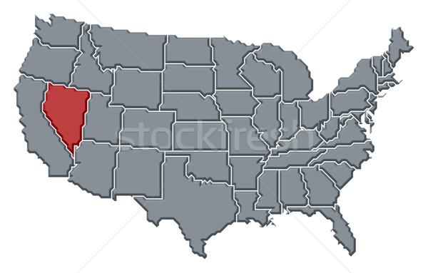 Stockfoto: Kaart · Verenigde · Staten · Nevada · politiek · verscheidene · abstract