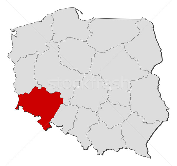 Map of Poland, Lower Silesian highlighted Stock photo © Schwabenblitz