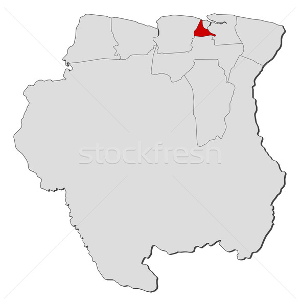 Map of Suriname, Wanica highlighted Stock photo © Schwabenblitz