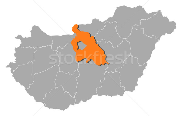 Map of Hungary, Pest highlighted Stock photo © Schwabenblitz
