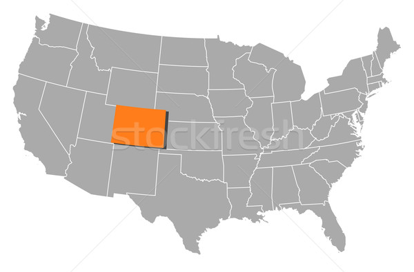 map of the united states colorado highlighted vector illustration