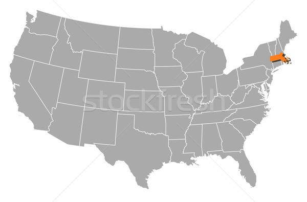 Harita Amerika Birleşik Devletleri Massachusetts siyasi birkaç soyut Stok fotoğraf © Schwabenblitz
