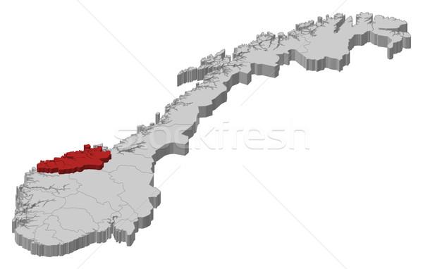 Kaart Noorwegen politiek verscheidene abstract achtergrond Stockfoto © Schwabenblitz