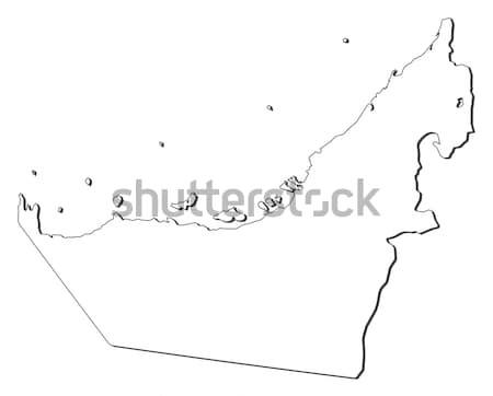 Foto d'archivio: Mappa · Emirati · Arabi · Uniti · politico · parecchi · abstract · terra
