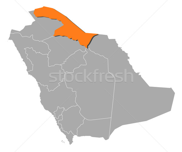 Map of Saudi Arabia, Northern Borders Province highlighted Stock photo © Schwabenblitz