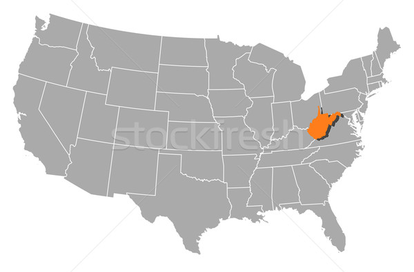 Map of the United States, West Virginia highlighted Stock photo © Schwabenblitz