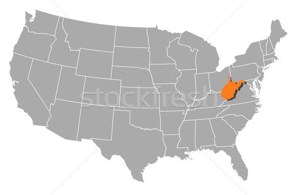 Carte États-Unis Virginie-Occidentale politique plusieurs résumé Photo stock © Schwabenblitz