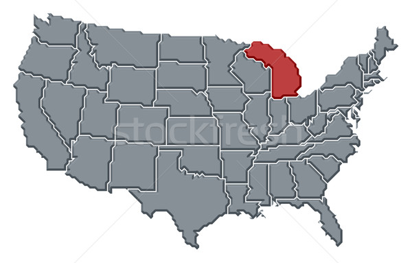 Map of the United States, Michigan highlighted Stock photo © Schwabenblitz