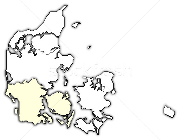 Kaart zuiden Denemarken politiek verscheidene regio Stockfoto © Schwabenblitz