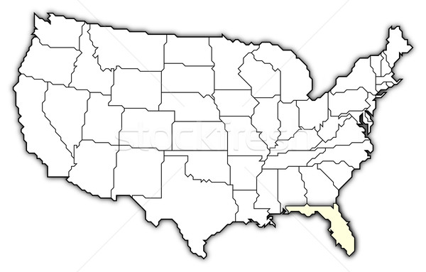 Map Of The United States Florida Highlighted Stock Photo - Us map with florida highlighted